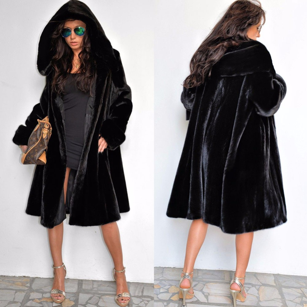 Desigual Clothes Women Winter Fox Fur Coat With Hooded Black Mink
