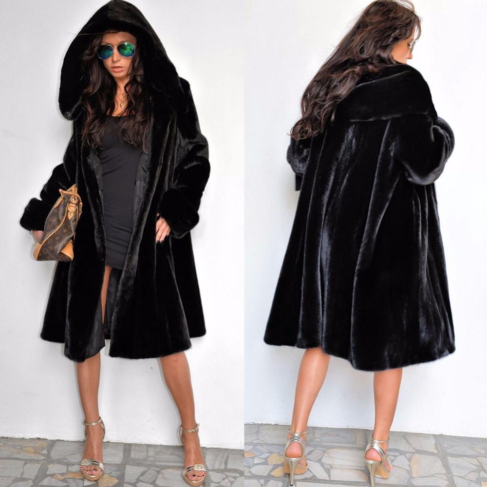 Desigual Clothes Women Winter Fox Fur Coat With Hooded Black Mink ...