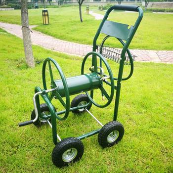 Garden Tool Cart Steel Water Hose Reel Trolley With Basket