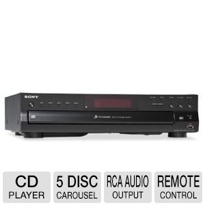 Sony Compact Disc Player - 5 Disc Carousel, Optical Output, RCA Audio Output, CD Text Display + 100 Ft Oxygen-Free Copper Speaker Wire