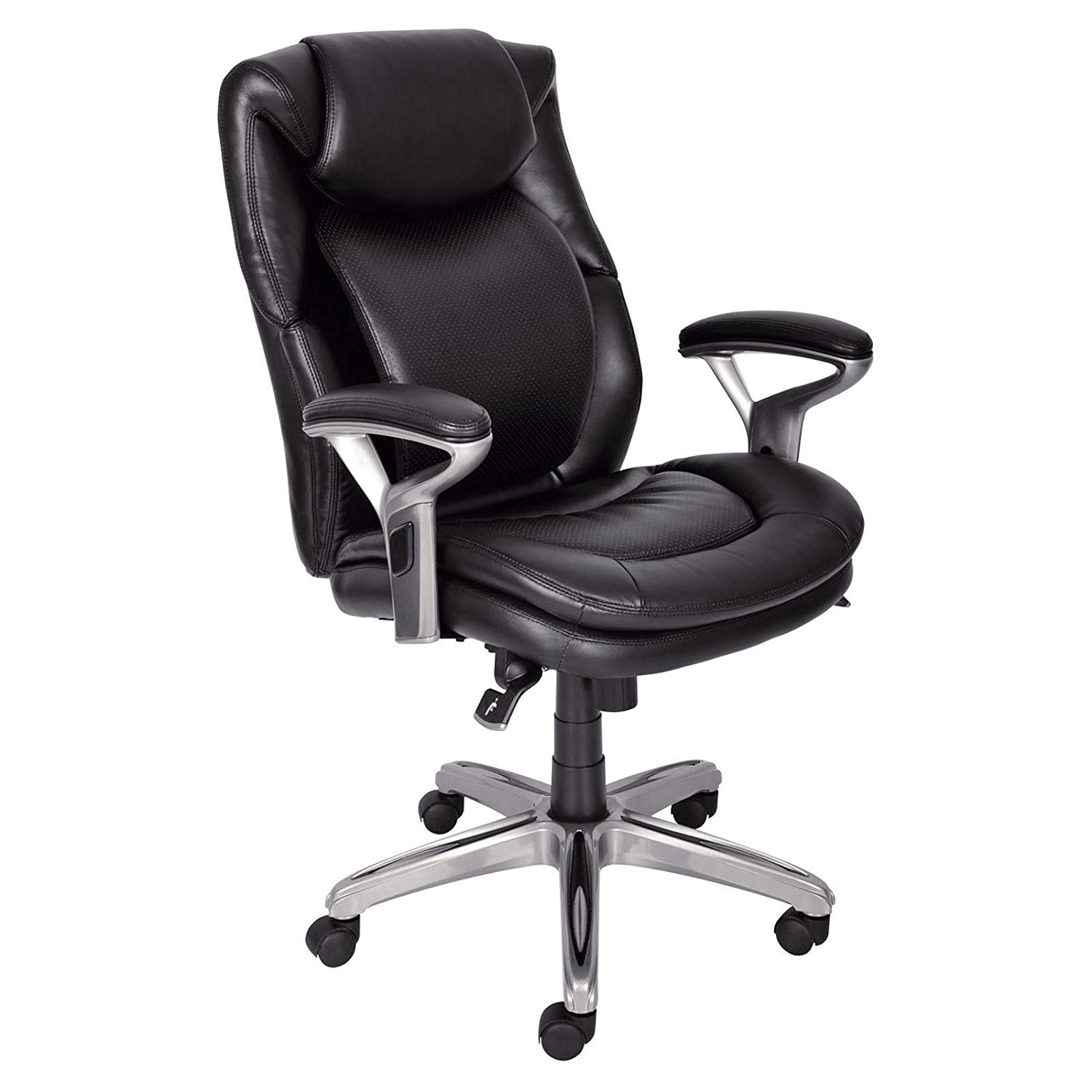Mid-Back Office Chair Bonded Leather, Smooth Black, Soft and Supple Upholstery in Eco-Friendly Bonded Leather with Contrast Stitching, Deep, Ergo Layered Body Pillows, Assembly is Required