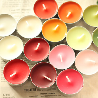 rainbow colored top selling natural soy wax tealight candle