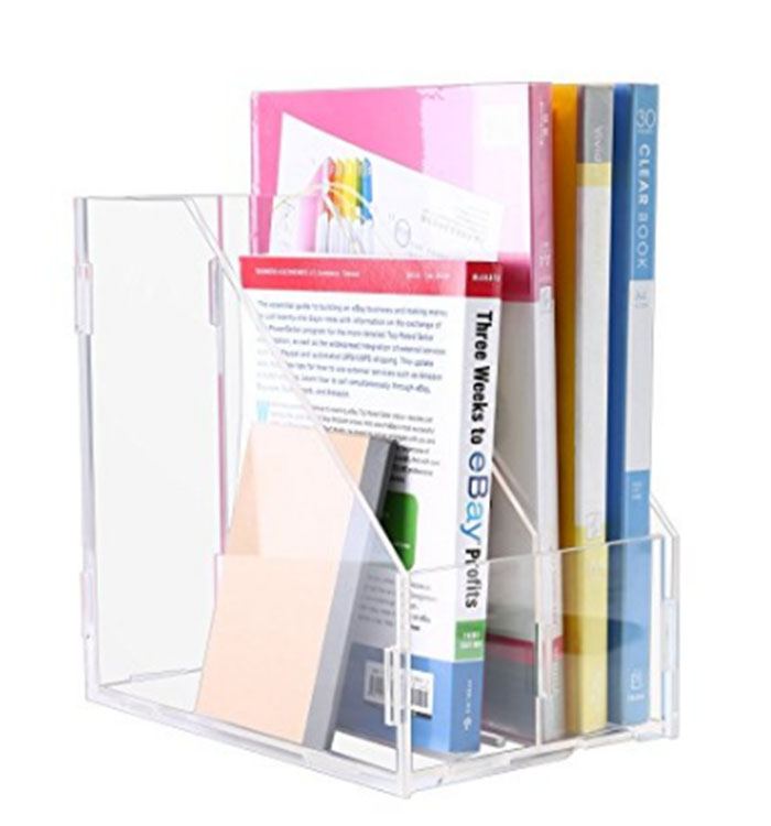 Acrilico trasparente Desktop Dell'organizzatore File Rack, 3 Slot, riviste Libri Documenti Storage Display Holder