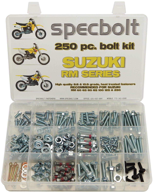 Specbolt Fasteners 250pc Maintenance Restoration OE Spec Motorcycle Bolt Kit for Suzuki RM 2 Stroke MX Dirtbike RM60 RM65 RM80 RM85 RM100 RM125 RM250 60 65 80 85 100 125