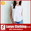 Hot sale white blank dri fit sleeveless t shirts wholesale for lady
