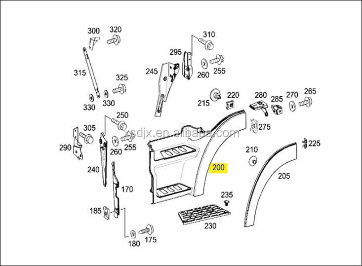 spare parts for mercedes benz actros truck upper foot step. Black Bedroom Furniture Sets. Home Design Ideas