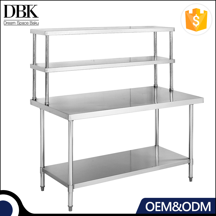 Kitchen stainless steel Double Over shelf Work Bench / Work table