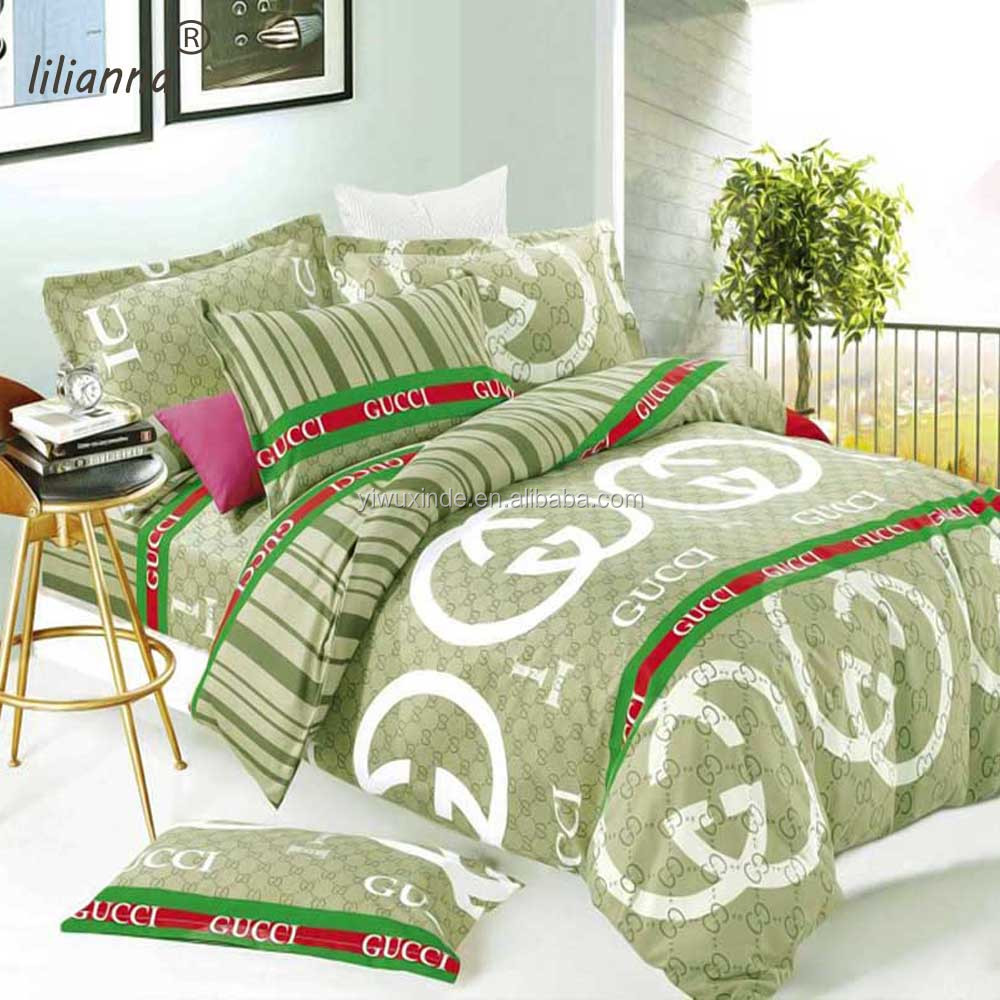 Good Quality Microfiber Fabric Branded Print Quilt Cover Set Bedding Bed Sheet