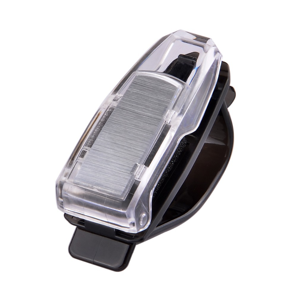 Free shipping Portable Eyeglass Holder Car Glasses/Pen/Business Card Clip - Black + Transparent p50