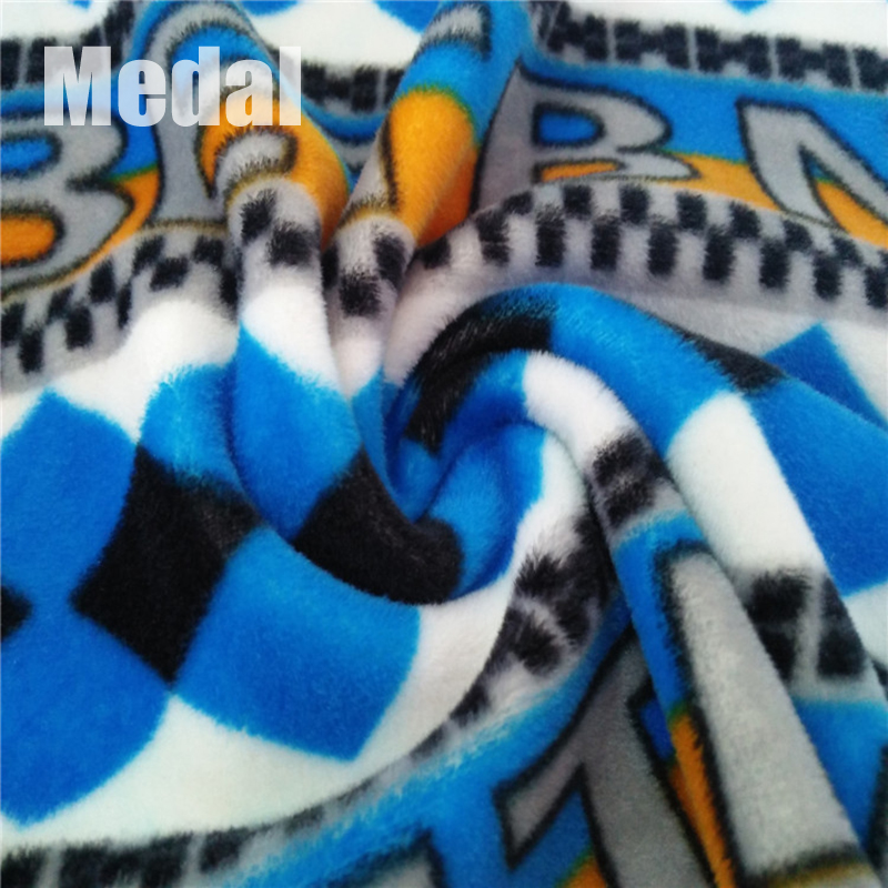Best quality colourful printed spandex velboa material plush moire fabric