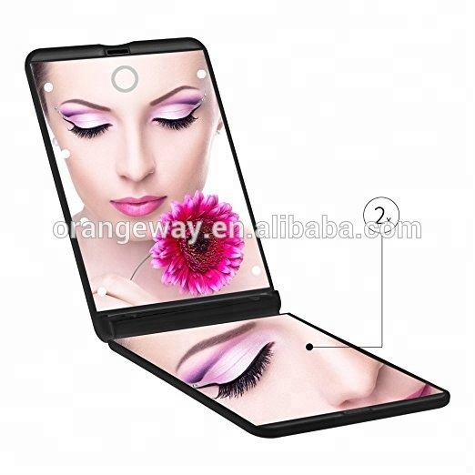 Cosmetic Portable Compact LED Make Up Desktop Mirror with 8 LED lights Lighted Travel Makeup pocket mirror led touch screen