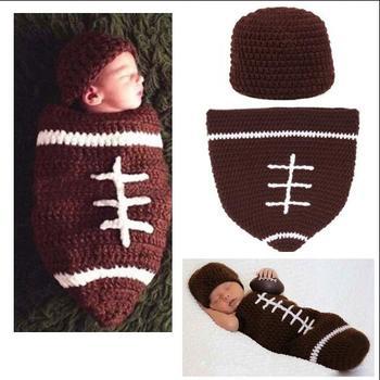 Handmade Football Häkeln Hut Und Kokon Für Neugeborene Fotografie ...