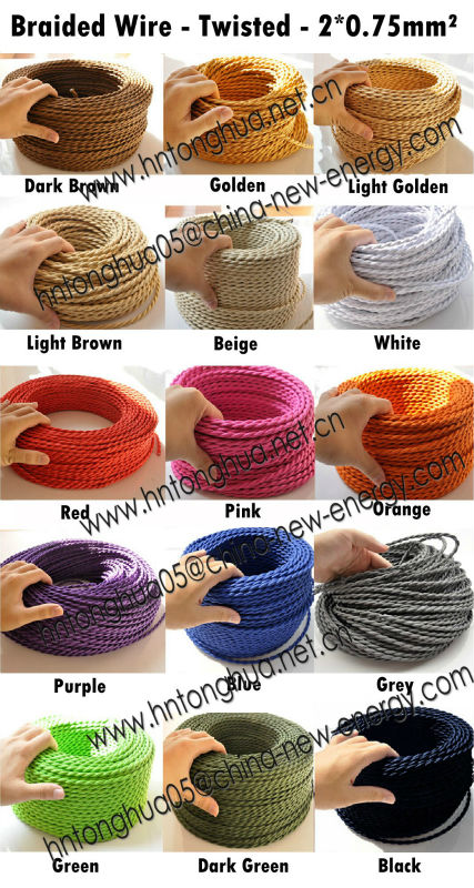 Braided Power Cord Cloth Covered Wire Light Lamp Cord Grip Fabric ...
