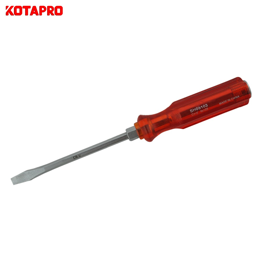 Hammer Cap Slotted Screwdriver With Transparent Handle