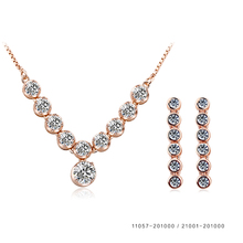 Wholesale custom made wedding women Austria crystal necklace earrings cz italian gold jewelry sets