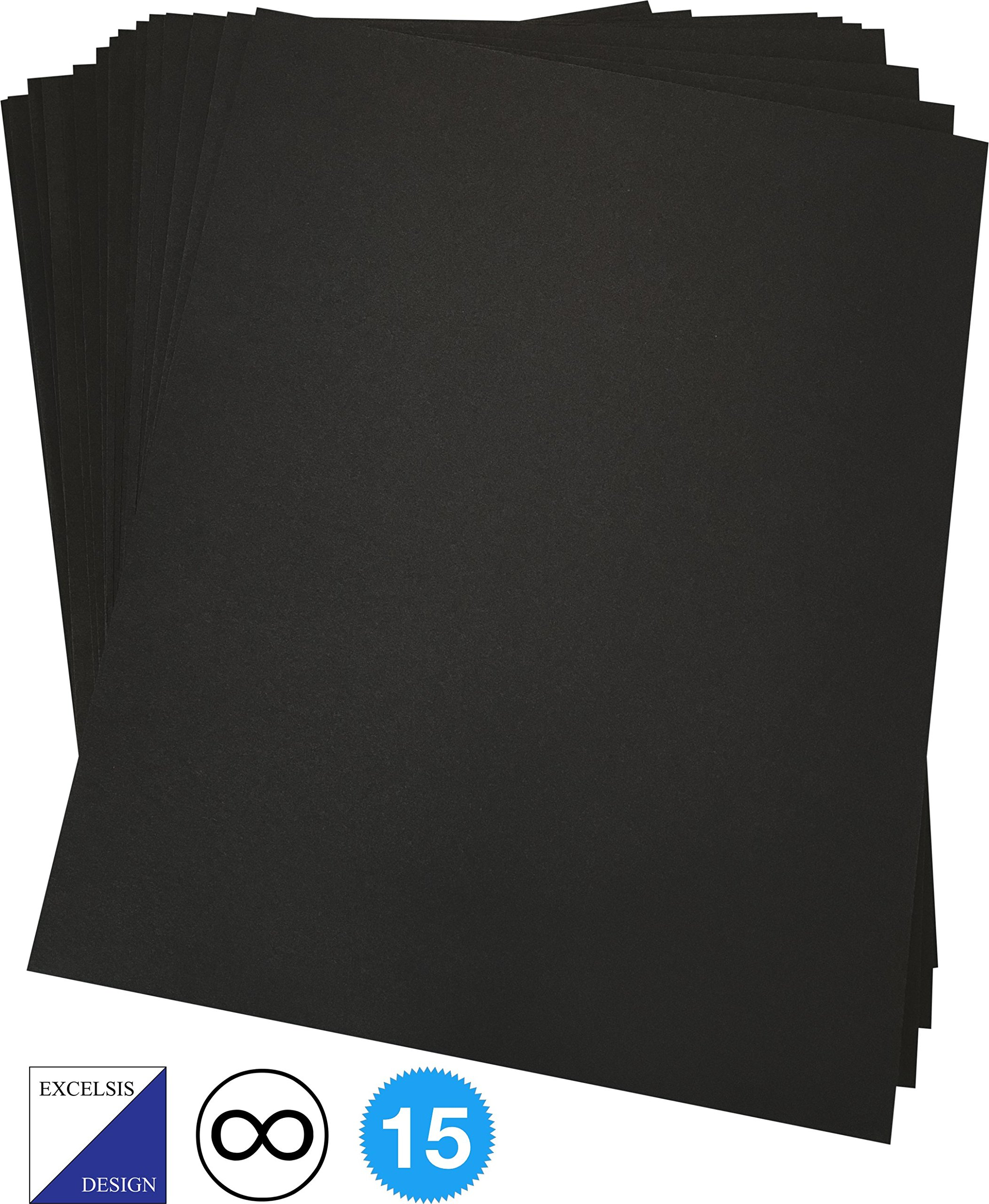 Excelsis Design, Pack of 15, Foam Boards (Acid-Free), 8x10 Inches, 3/16 Inch Thick Mat, Black with Black Core (Foam Core Backing Boards, Double-Sided Sheets)