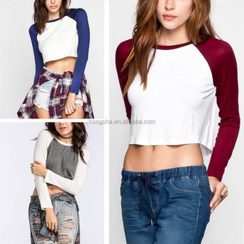 f088a455 Blank Raglan t Shirt Long Sleeves Plain Crop Womens Baseball Tee HST1458