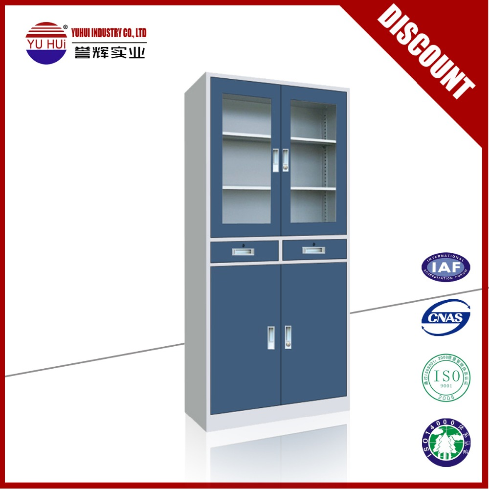 Blue Double Door Glass And Steel Storage Filing Cabinet With 2 ...