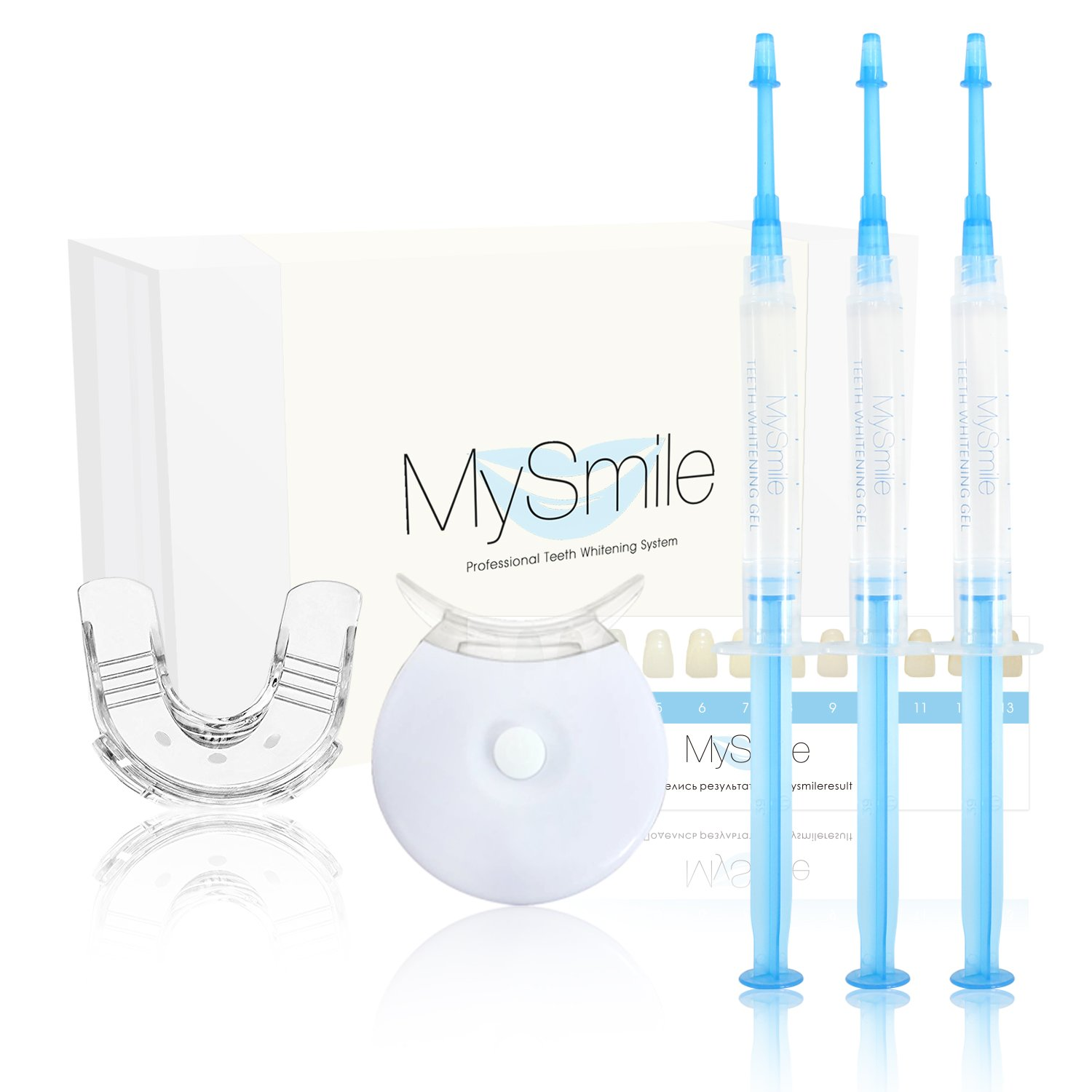 MySmile Teeth Whitening Kit, 10 Mins Express Result, Stain Remover Non Sensitive, Led Accelerator Light, 18% Carbamide Peroxide 3ml Pro Gel, Mouth Tray