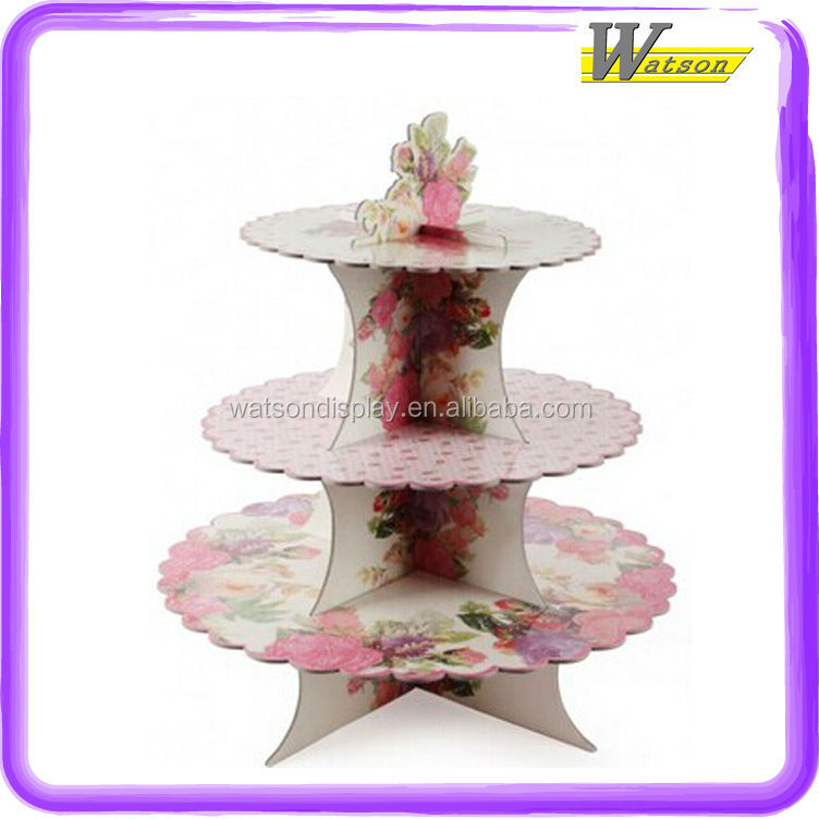 hot sale supermarket promotion christmas 3 tier disposable cupcake stand for birthday party