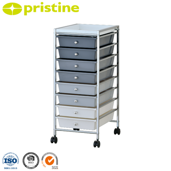 8 Drawer Rolling Storage Cart With Chrome Steel Frame