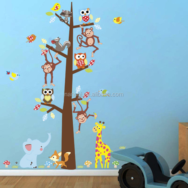 cartoon jungle animals monkey owl elephant wall sticker for kids room home decor growth chart height measure mural art pvc decal