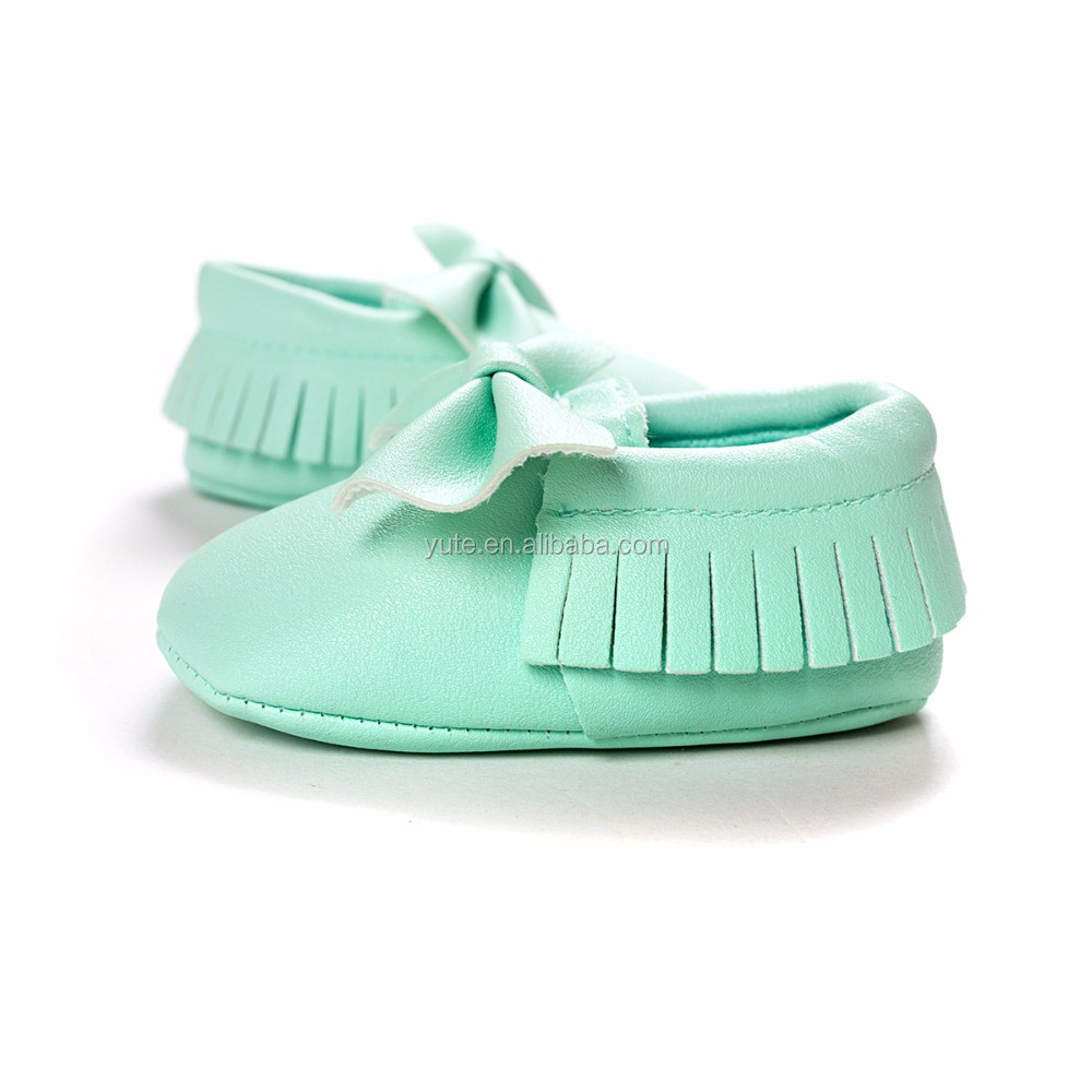Factory Fringe Pu Leather Moccasins Bow Baby Shoes