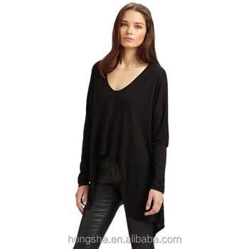 bf7b5dc44858 Ladies Tops Latest Design Black Loose Deep V-Neck High Low Asymmetric Hem  Pullover Short