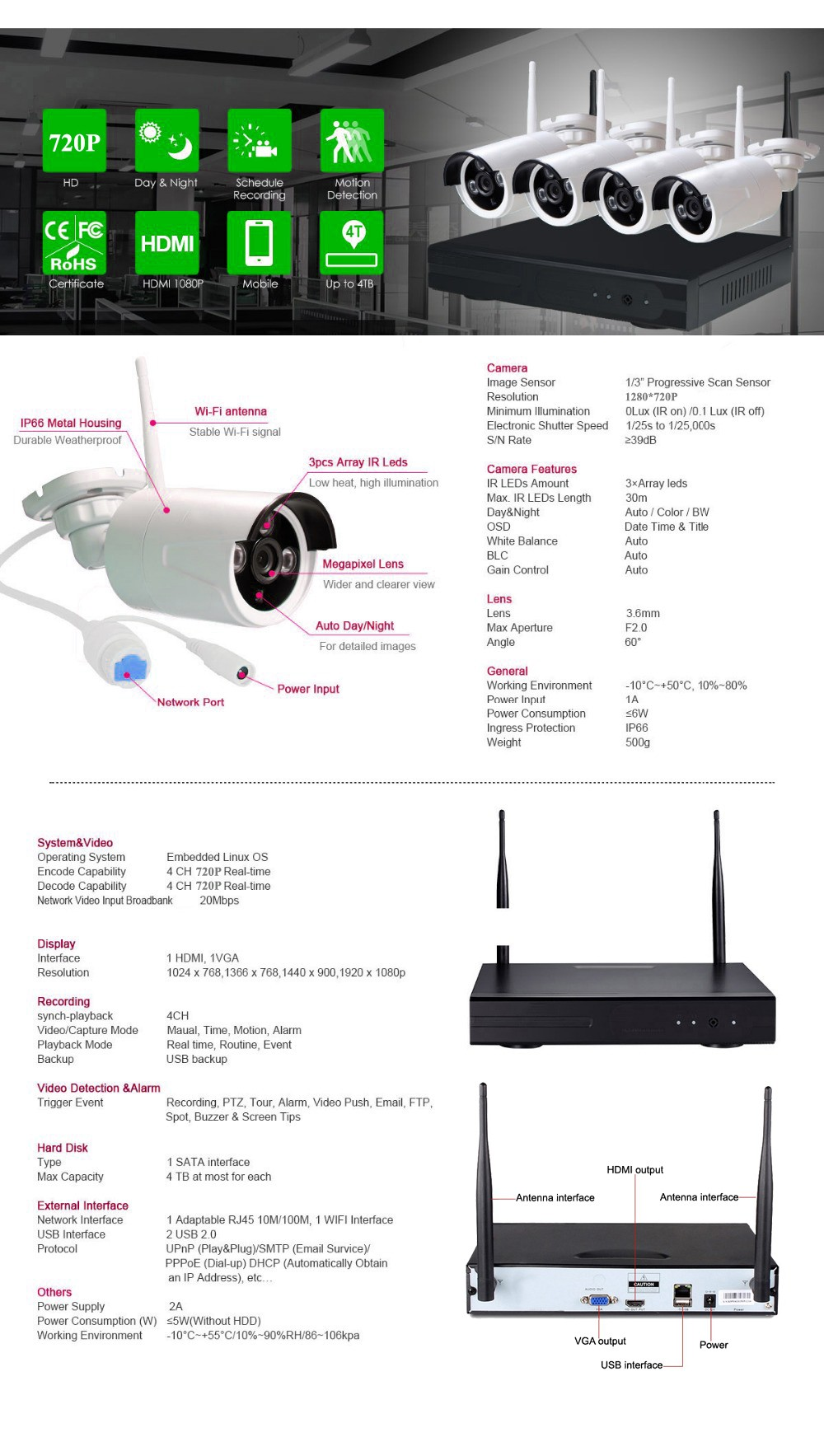 HD 4 Channel Long Distance Wireless Signal Complete Security CCTV System  With Eseecloud APP Plug and Play Wifi NVR Kit