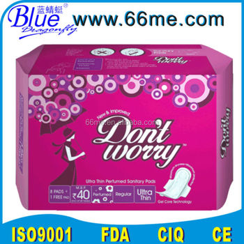 ultra-thin sanitary napkin with blue chips/super absorbent sanitary pad/ink print lady pad