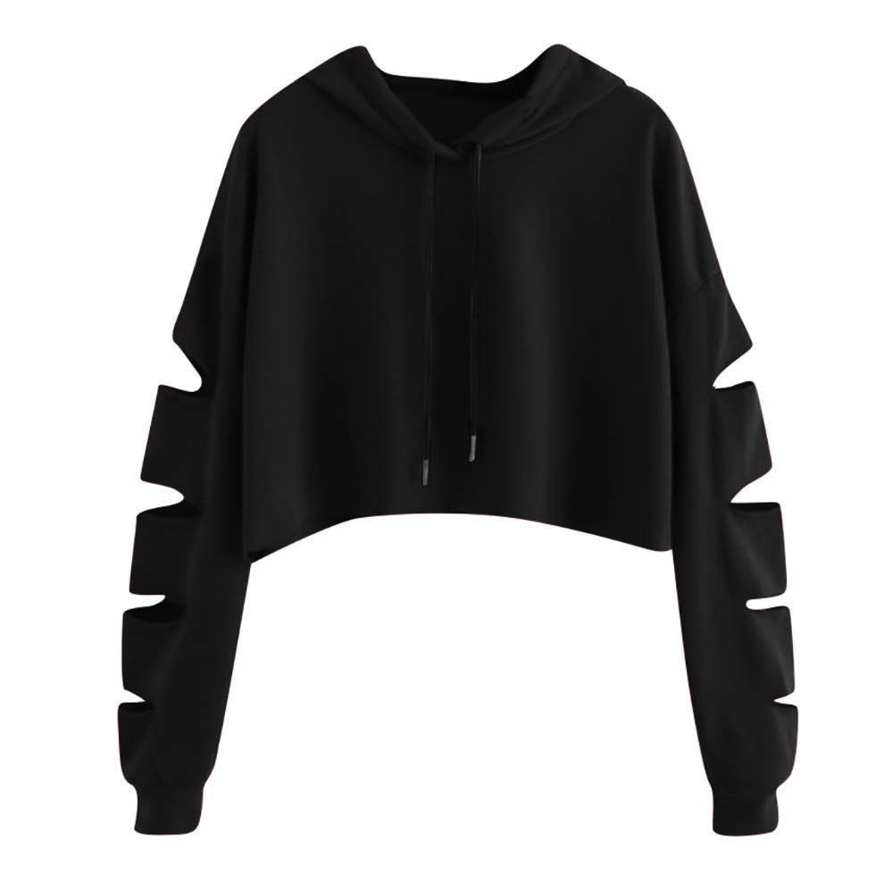 Women Teen Girls Crop Top Hoodie Sweatshirt Cuekondy Casual Solid Color Hole Long Sleeve Pullover Jumper Blouse