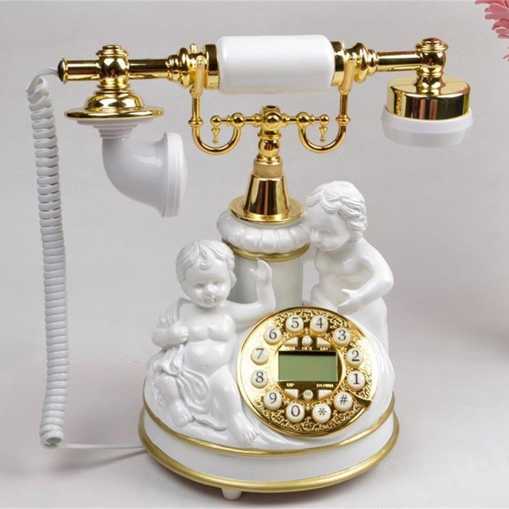 Edge To Corded Telephones Creative European Angel Cupid Phone pastoral Retro Antique Push Button Landline Corded Phone For Home Office