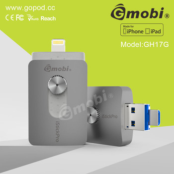 hot selling gmobi istick pro mfi mobile usb flash memory otg extra storage for iphone