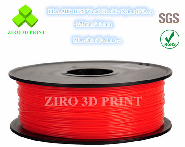 China supplier 3D printer filament 0.8kg per roll 1.75mm and 3.0mm 3D flexible plastic rod