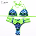 2016 Tip Up Bow Women Leoprad Bikini Swimwear Geometric Printed Bathing suit Brazilian Green Blue Yellow