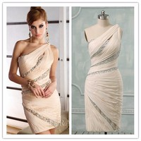 Sheath One Shoulder Beads Chiffon Sexy Nude Cocktail Dress (COTE-1008)