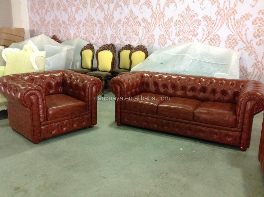 Luxury Classical Chesterfield Leather Sofa,Chesterfield 321