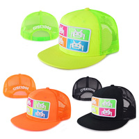 Neon color flat brim embroidery patch mesh custom baby trucker cap