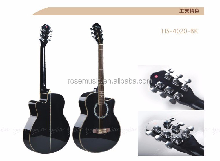 HS4020 colorful made in China with reasonable guitar price 40inch acoustic guitar celluloid binding