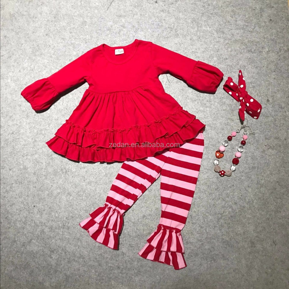 Children outfits wholesale knitted cotton ruffle raglan dress with icing pants baby clothing girls sets