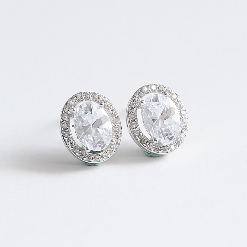 China suppliers sterling silver stud earrings with AAA cz stone for women