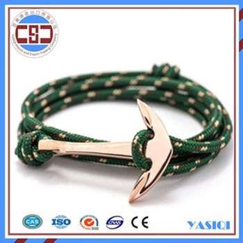 Stock Jewelry 316L stainless steel gold anchor nautical nylon rope anchor bracelet 2017