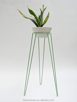 Colorful Metal Patio Hairpin Plant Stand Green