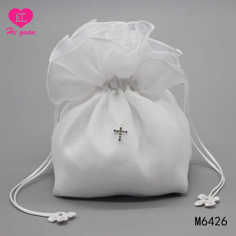 M6426 Hot Sale Flower Girl Bag for Wedding with Beaded and Embroidered Satin