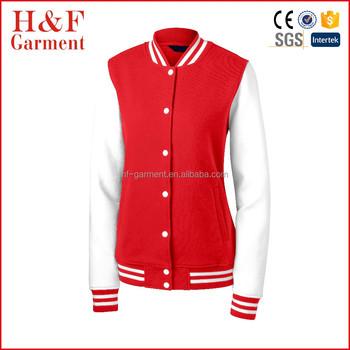Girls Letterman Jacket Jersey Cotton Long Sleeves Varsity Jacket Red