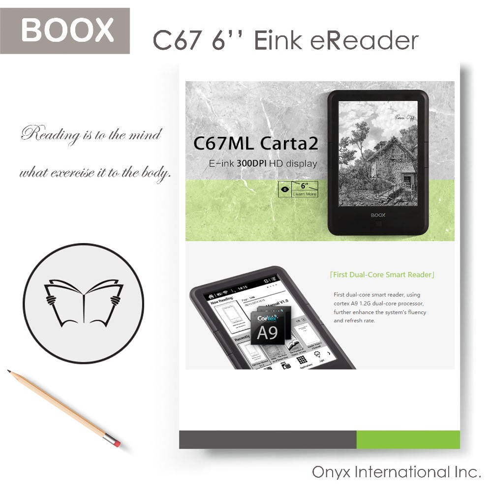 Onyx Best Selling 6 Inch Android 4.2.2 Paperwhite Wifi Tablet E Ink Ebooks eReader
