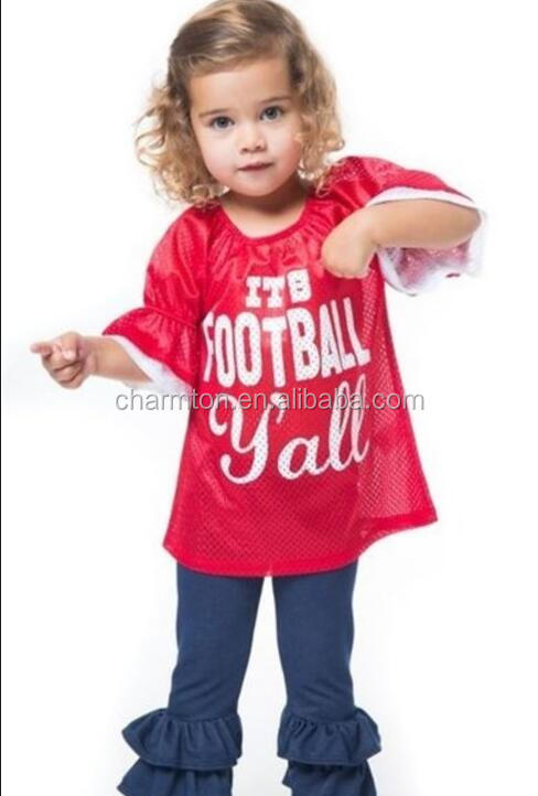Wholesale Toddler Football Mesh Bell Sleeve Jersey
