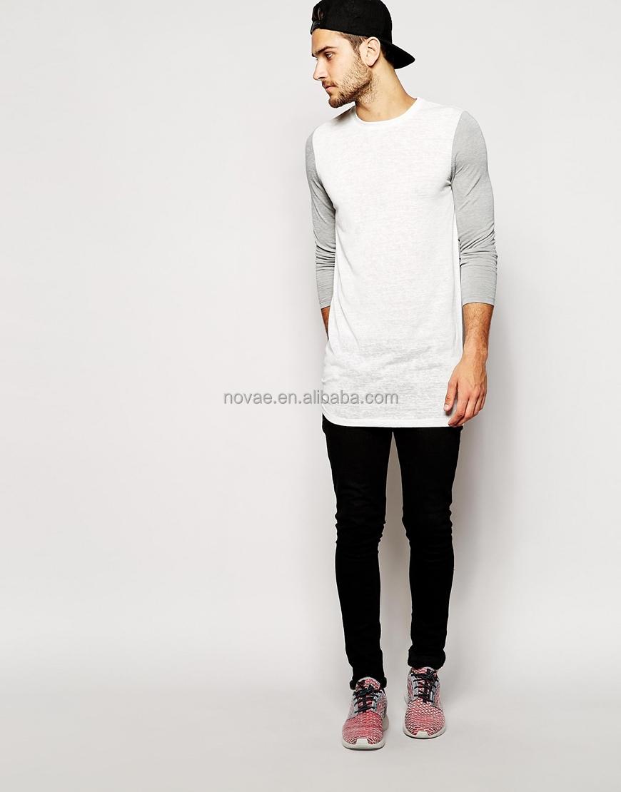 Cheap Custom Long Line T Shirt Men Bulk Long Contrast Sleeves 100 ...