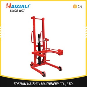 China supplier 350kg manual forklift rotating oil drum lifter with tilting type