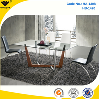 Kangbao Furniture glass dining table designs HA-1308 cheap dining room sets